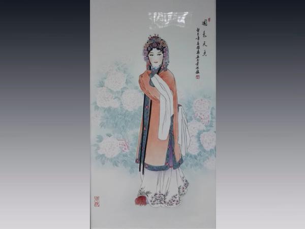 徐鑫作品:2尺6粉彩瓷板 國色天香