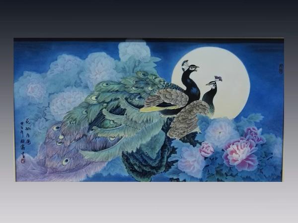 徐鑫作品:2尺6釉上彩瓷板 花好月圓